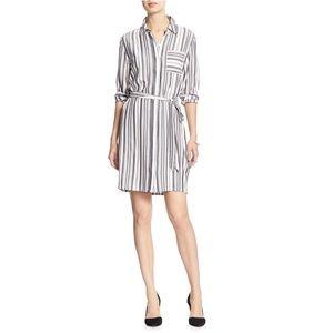 Banana Republic Gray White Women's Stripe Dress 6P
